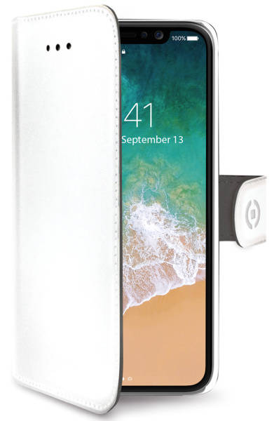 Púzdro na mobil flipové Celly Wally na Apple iPhone X/Xs (WALLY900WH) biele