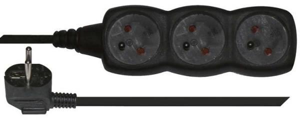 Kabel prodlužovací EMOS 3x zásuvka, 3m (1902230300) černý