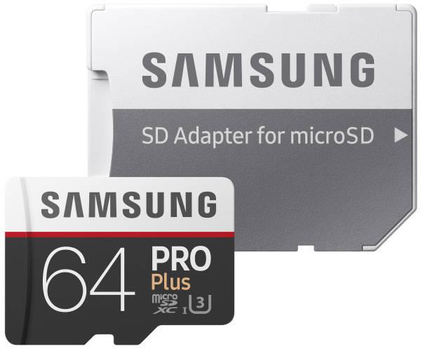 Paměťová karta Samsung Micro SDXC PRO+ 64GB UHS-I U3 (100R/90W) + adapter (MB-MD64GA/EU)