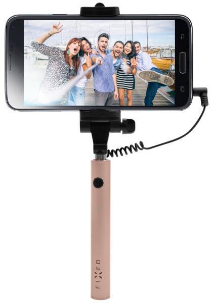 Selfie tyč FIXED Snap Mini - růžová/zlatá (FIXSS-SNM-RG) růžová/zlatá
