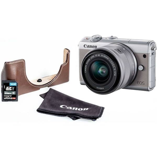Digitální fotoaparát Canon EOS M100 + M 15-45 + EH31FJ + 16 GB karta (2211C069) šedý