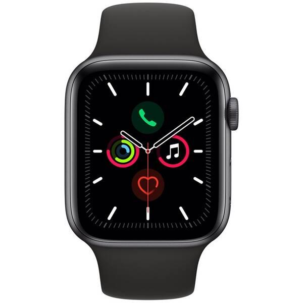 Chytré hodinky Apple Watch Series 5 GPS 44mm pouzdro z vesmírně šedého hliníku - černý sportovní řemínek (MWVF2HC/A)