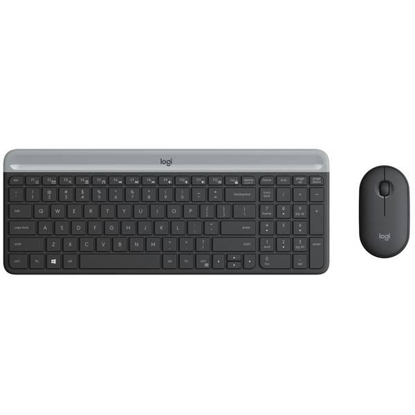 Klávesnica s myšou Logitech Wireless Combo MK470 Slim, US (920-009260) sivá
