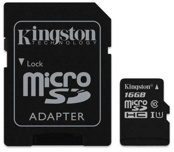 Pamäťová karta Kingston Canvas Select MicroSDHC 16GB UHS-I U1 (80R/10W) + adapter (SDCS/16GB)