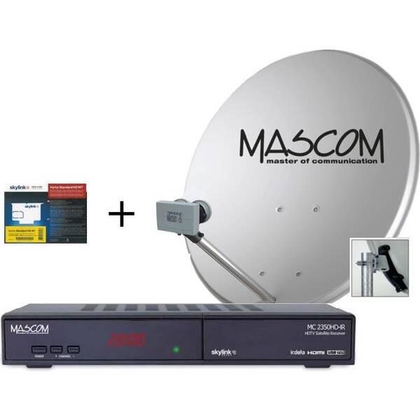 Satelitní komplet Mascom MS-2350/80MBL+M7, příjem 2 družic s kartou Skylink černý