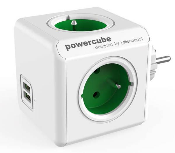 Zásuvka Powercube Original USB,  4x zásuvka, 2x USB biela/zelená
