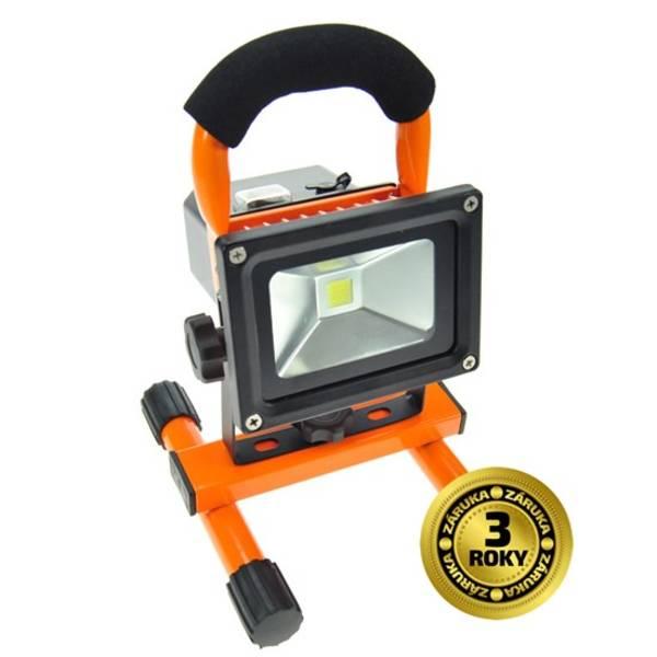 LED reflektor Solight 10W, studená bílá, nabíjecí, 700lm (WM-10W-DE) černý/oranžový