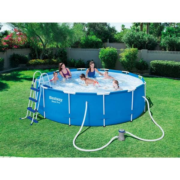 baz n bestway steel frame pool 366 x 100 cm. Black Bedroom Furniture Sets. Home Design Ideas