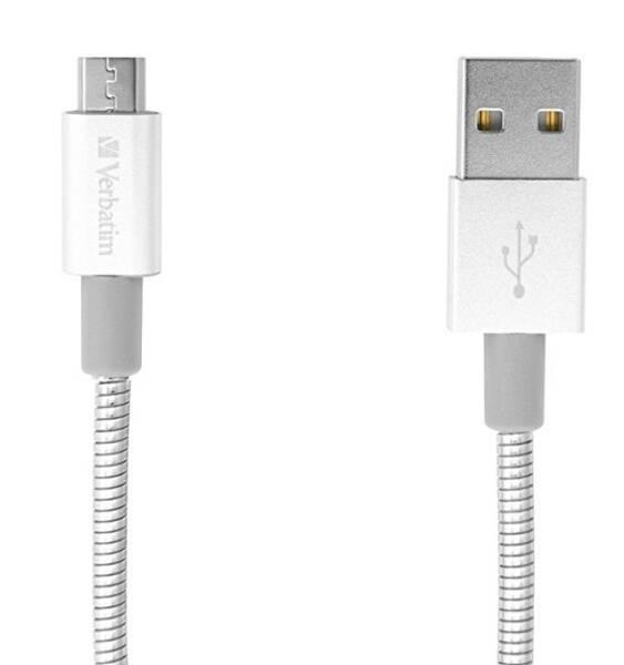 Kabel Verbatim Sync & Charge USB/micro USB, 30cm, nerezová ocel (48865) stříbrný