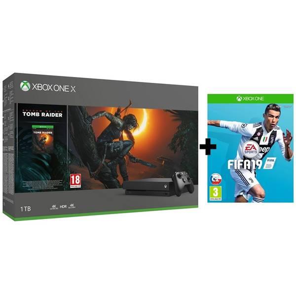Herní konzole Microsoft Xbox One X 1 TB + Shadow of the Tomb Raider + FIFA 19 (CYV-00105F)