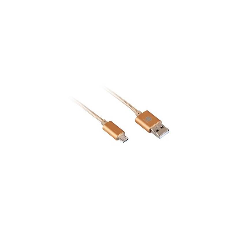 Kábel GoGEN MicroUSB, 1m, oplétáný (MICUSB 100 MM06) zlatý