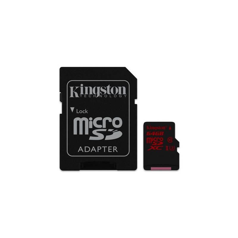 Pamäťová karta Kingston MicroSDHC 64GB UHS-I U3 (90R/80W) + adapter (SDCA3/64GB)