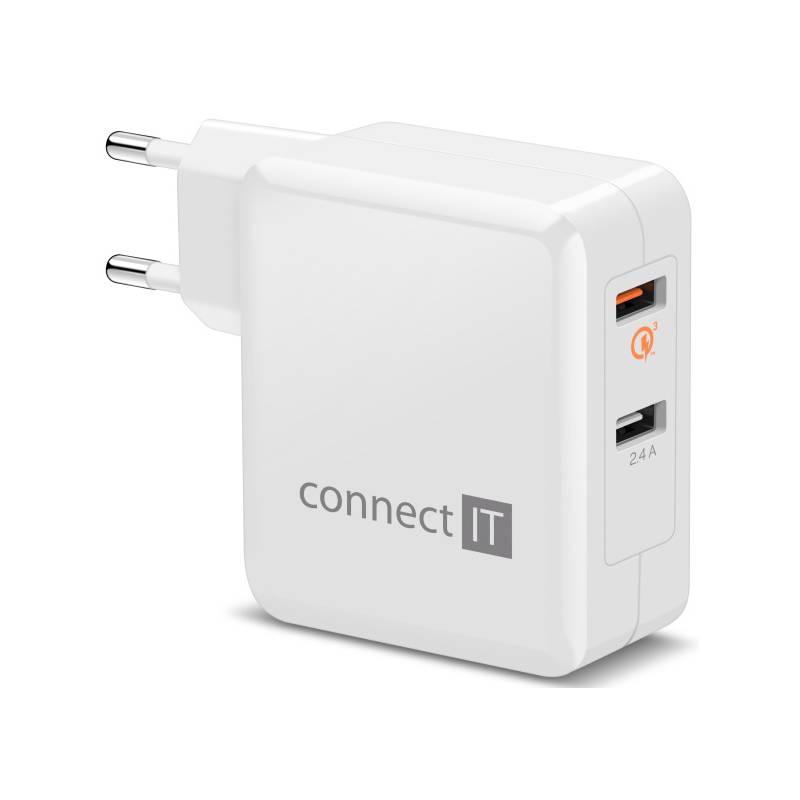 Nabíjačka do siete Connect IT 2x USB (3,4A), s funkcí rychlonabíjení QC 3.0 (CWC-3010-WH) biela