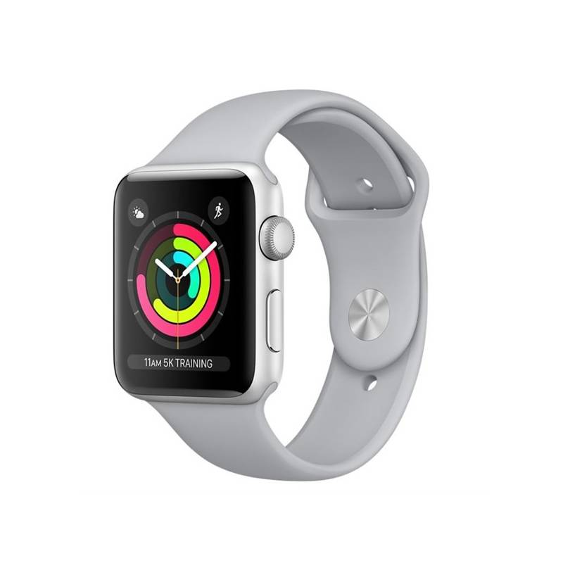 Chytré hodinky Apple Watch Series 3 GPS 38mm pouzdro ze stříbrného hliníku - mlhově šedý sportovní řemínek (MQKU2CN/A)