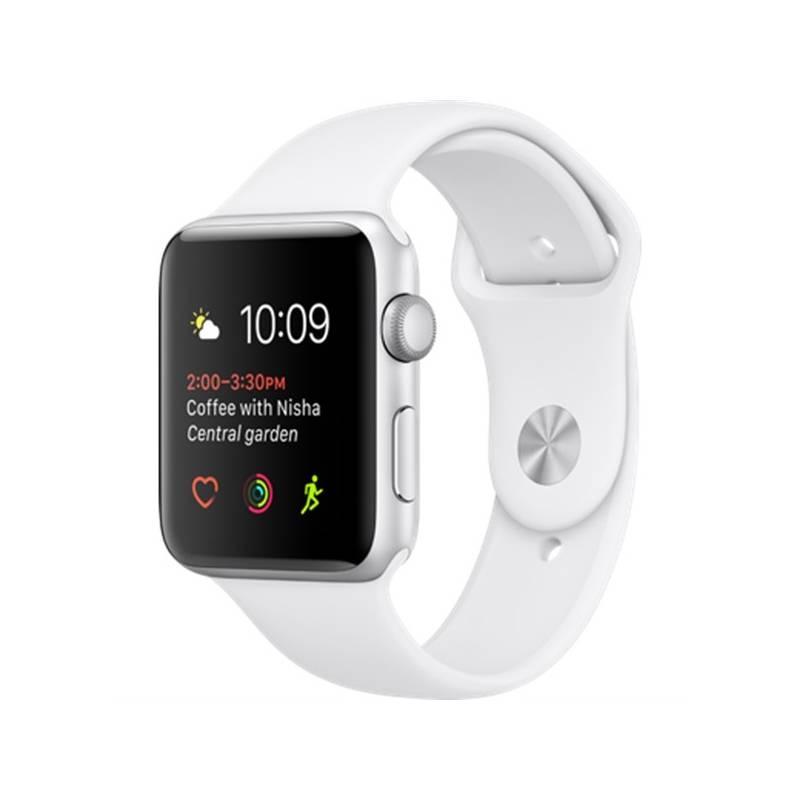 Chytré hodinky Apple Watch Series 1 42mm pouzdro ze stříbrného hliníku –  bílý sportovní řemínek ( fdf75ffb7d0