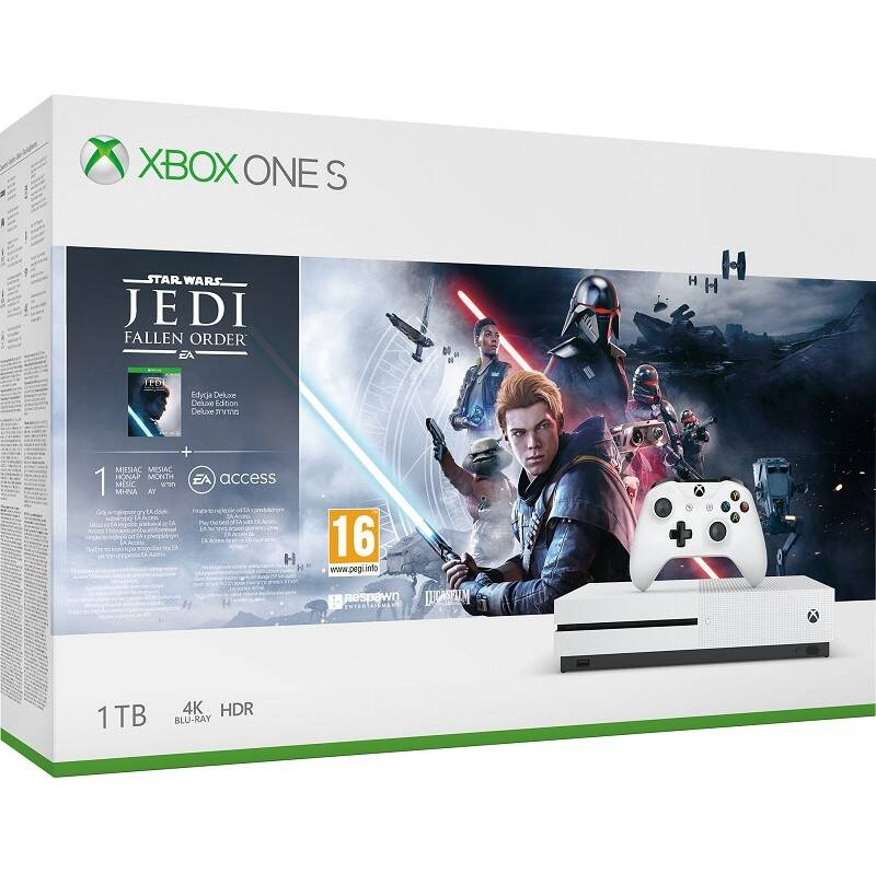 Herná konzola Microsoft Xbox One S 1 TB + STAR WARS Jedi: Fallen Order (234-01098)