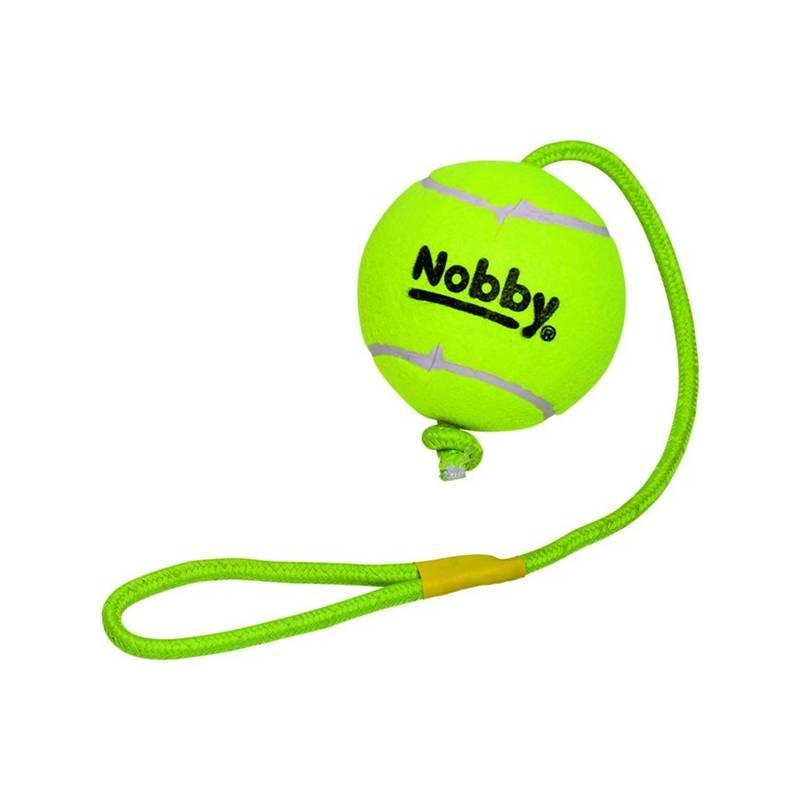 Hračka Nobby tenisový míček XXL 12,5 cm s lanem 70 cm