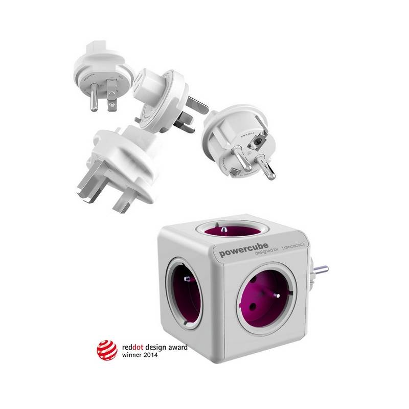 Cestovní adaptér Powercube ReWirable + Travel Plugs - fialový fialový