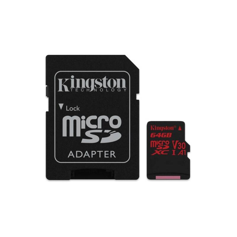 Pamäťová karta Kingston Canvas React microSDXC 64GB UHS-I U3 (100R/80W) + adaptér (SDCR/64GB)