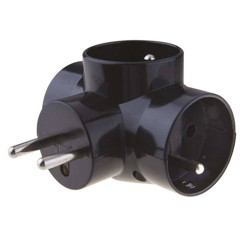 Zásuvka EMOS rozbočovací 3x kulatá (441509) čierny