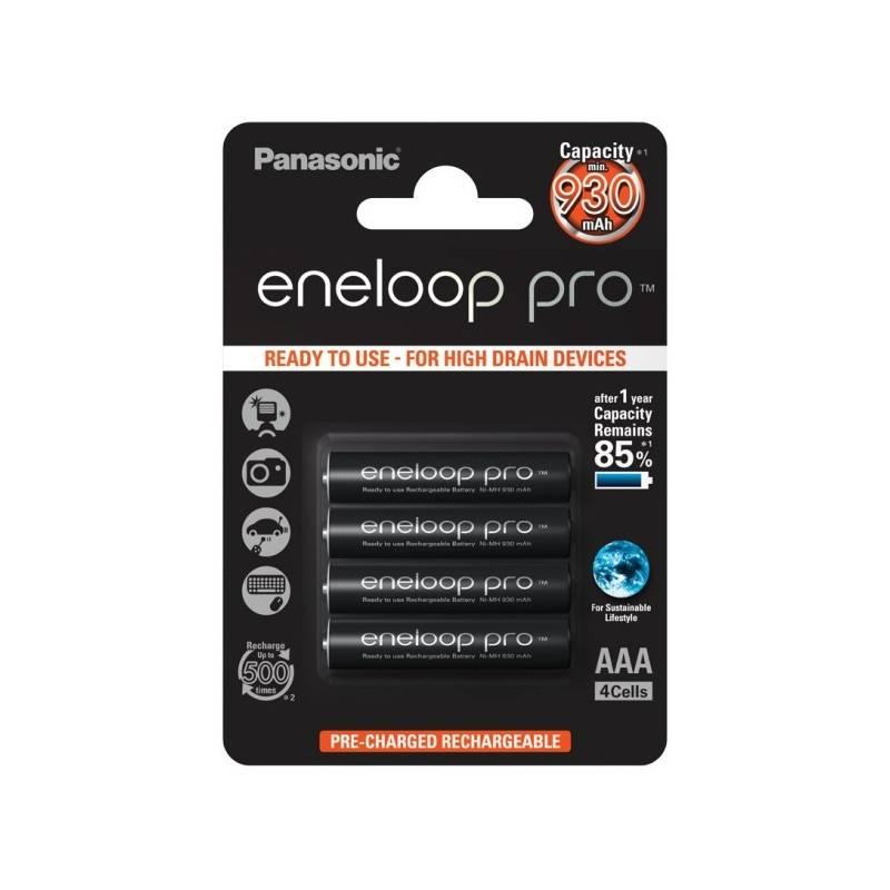 Batéria nabíjacie Panasonic Eneloop Pro AAA, 930mAh, 4 ks (BK-4HCDE/4BE) čierna