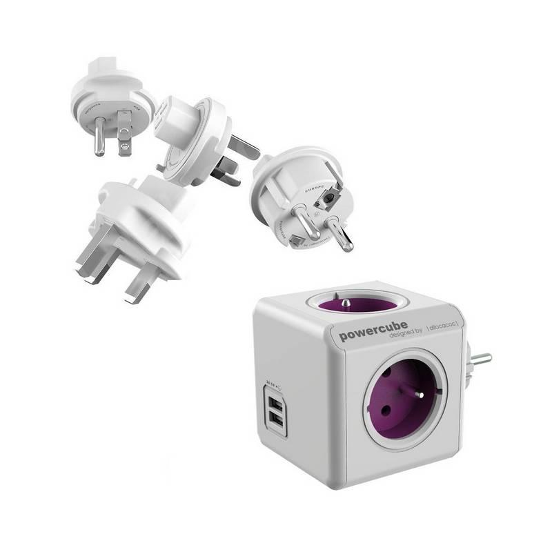 Cestovný adaptér Powercube ReWirable USB + Travel Plugs biely