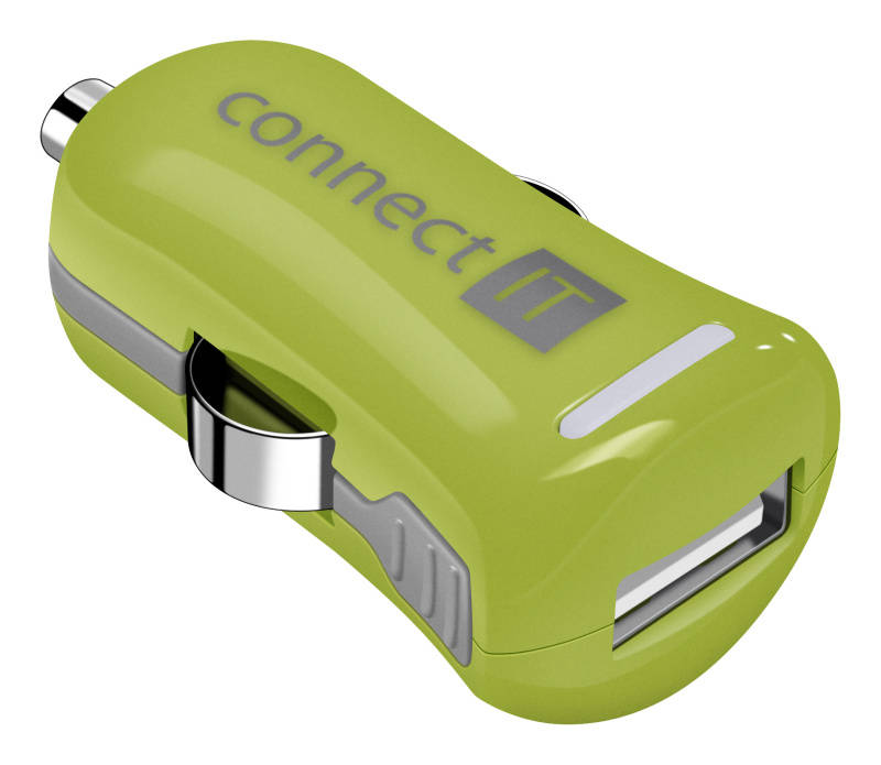Adaptér do auta Connect IT InCarz COLORZ, 1x USB, 2,1A (V2) (CI-1122) zelený