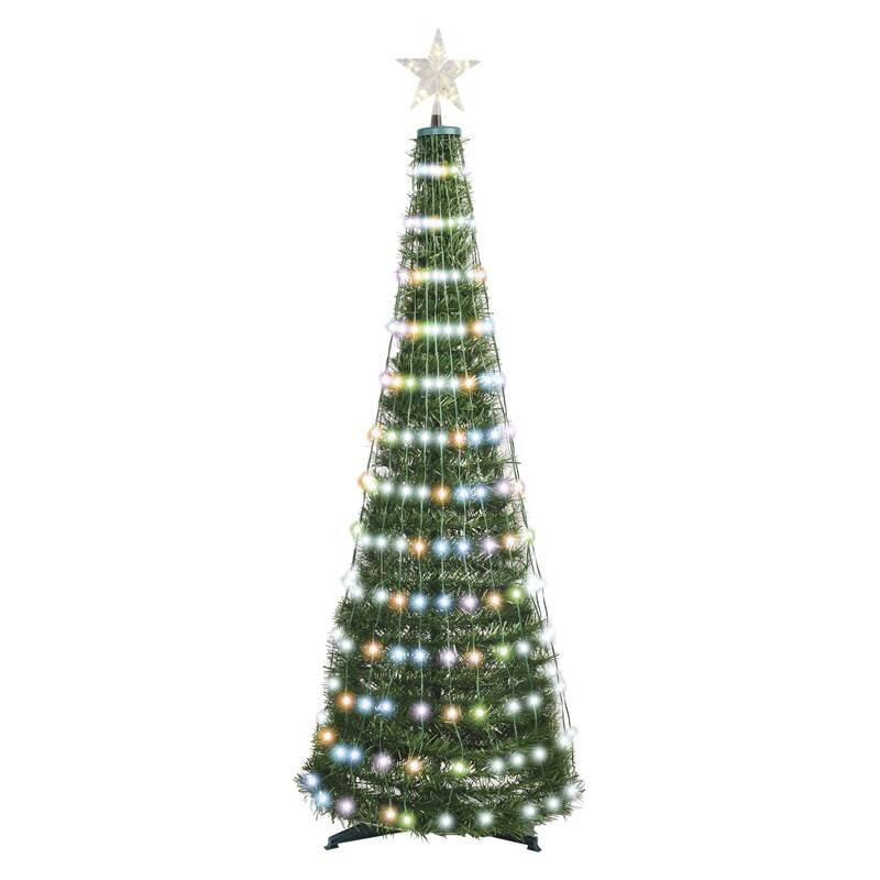 LED dekorace EMOS 314 LED vánoční stromek se světelným řetězem a hvězdou, 1,8 m, vnitřní, RGB, ovladač, časovač (D5AA03)