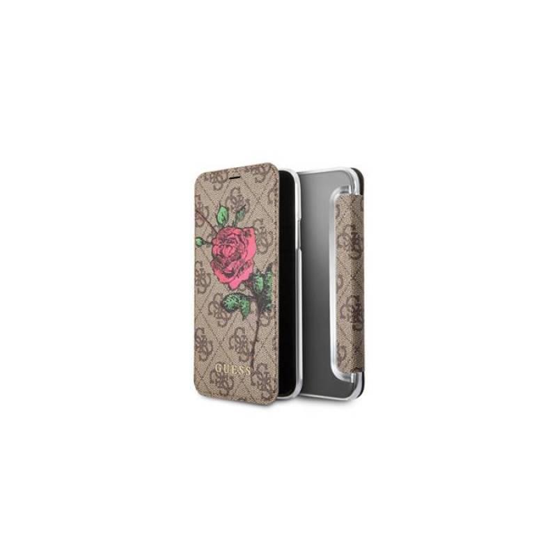 Puzdro na mobil flipové Guess 4G Flower Desire Book Pouzdro pro iPhone X (GUFLBKPX4GROB) hnedé