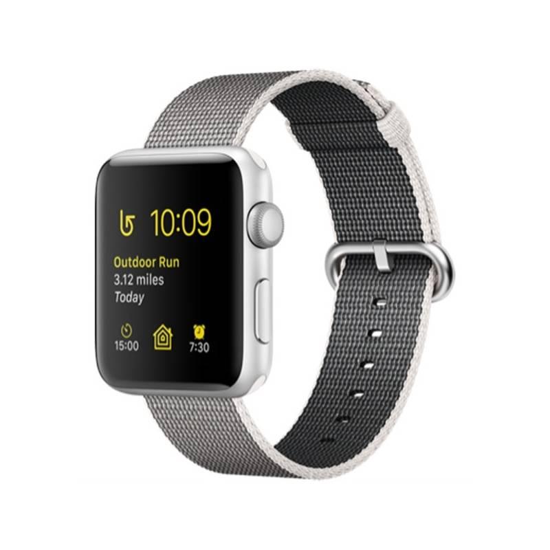 Chytré hodinky Apple Watch Series 2 42mm pouzdro ze stříbrného hliníku – perlově šedý řemínek z tkaného nylonu (MNPK2CN/A) + Doprava zadarmo