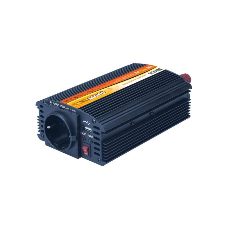 Menič napätia Solight 12V, 300W, kovový, černý, 12V + USB 500mA (221881)