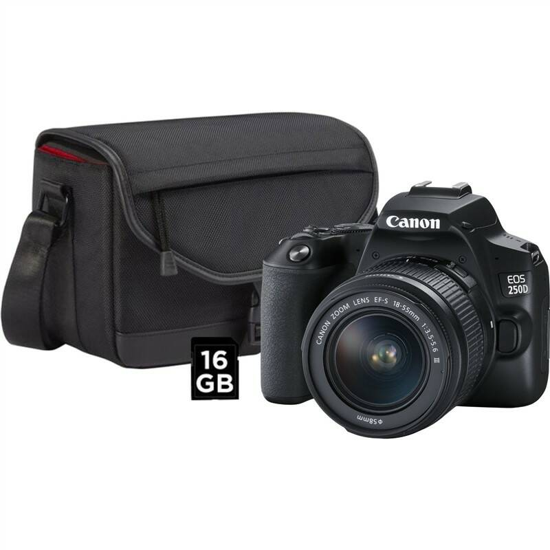 Digitálny fotoaparát Canon EOS 250D + 18-55 + SB130 + 16GB karta (3454C010) čierny