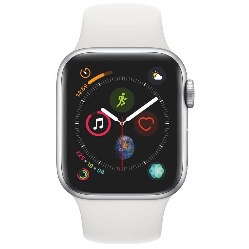 Chytré hodinky Apple Watch Series 4 GPS 40mm pouzdro ze stříbrného hliníku - bílý sportovní řemínek SK verze (MU642VR/A)