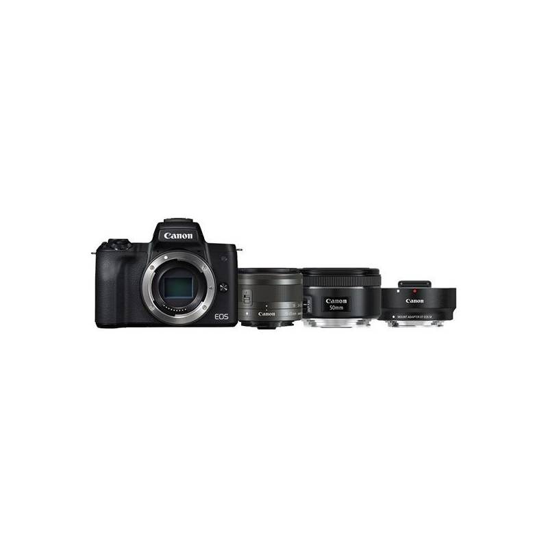 Digitálny fotoaparát Canon EOS M50 + EF-M15-45 + EF 50 1.8 S + ADA (2680C061) čierny + Doprava zadarmo