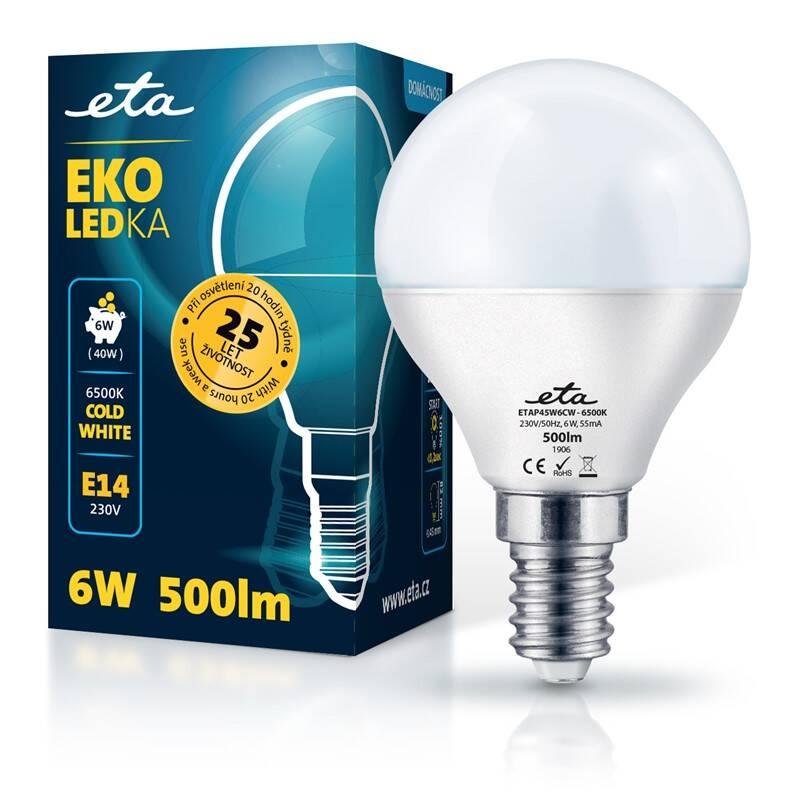 LED žiarovka ETA EKO LEDka mini globe 6W, E14, studená biela (P45W6CW)