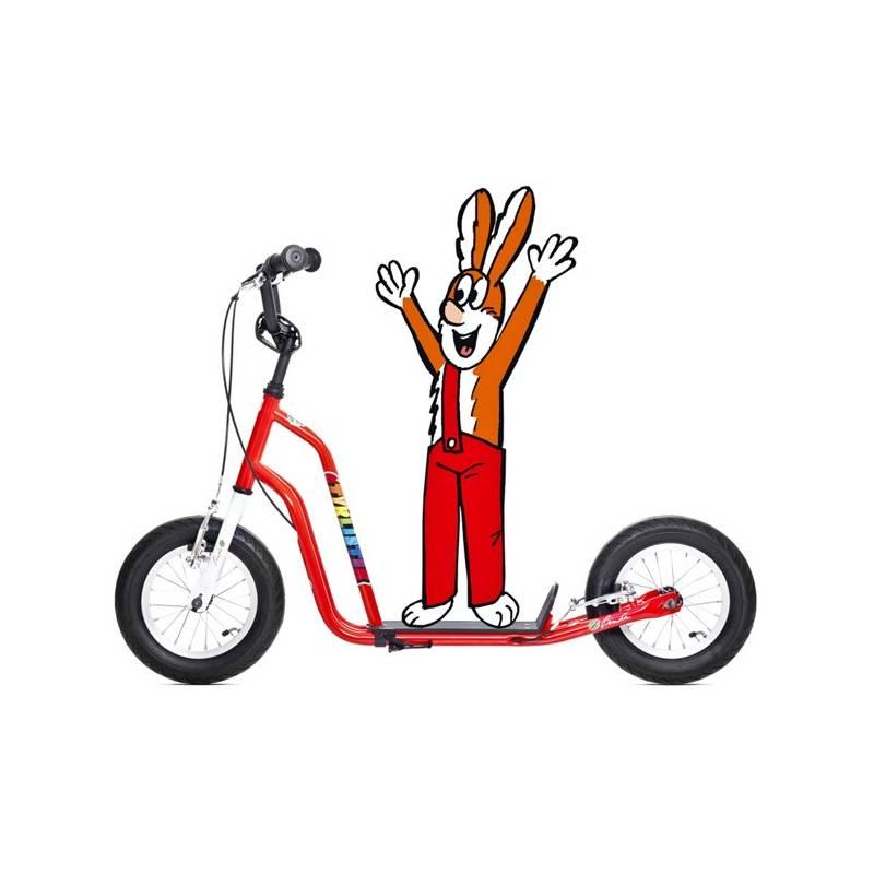 Kolobežka Yedoo Basic Čtyřlístek Maxi - Pinďa biela/červená + Reflexní sada 2 SportTeam (pásek, přívěsek, samolepky) - zelené v hodnote 2.80 € + Doprava zadarmo