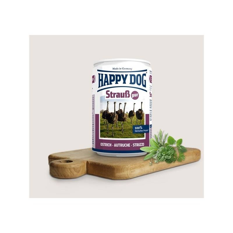 Konzerva HAPPY DOG Strauß Pur - 100% pštrosí maso 400 g
