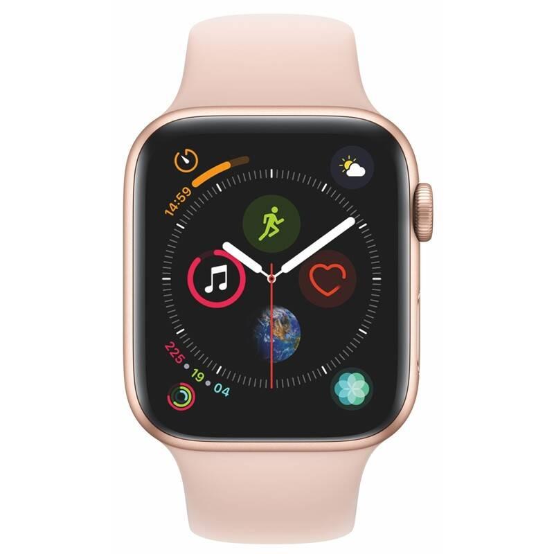Chytré hodinky Apple Watch Series 4 Watch Series 4 GPS 44mm pouzdro ze zlatého hliníku - pískově růžový sportovní řemínek (MU6F2HC/A) + Doprava zadarmo