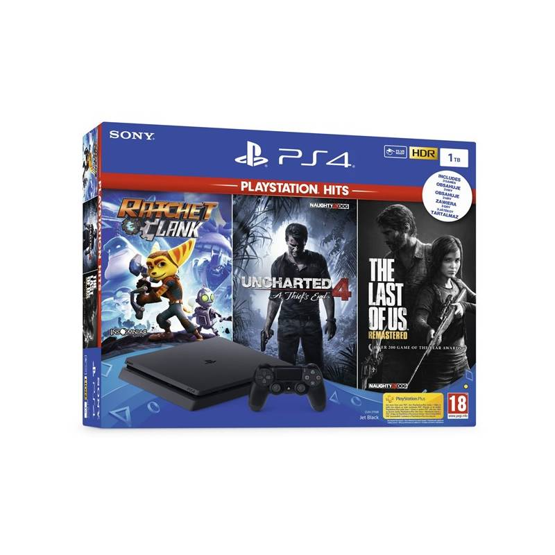 Herní konzole Sony PlayStation 4 1TB + The Last Of Us +Uncharted 4 + Ratchet & Clank (PS719731313) černý