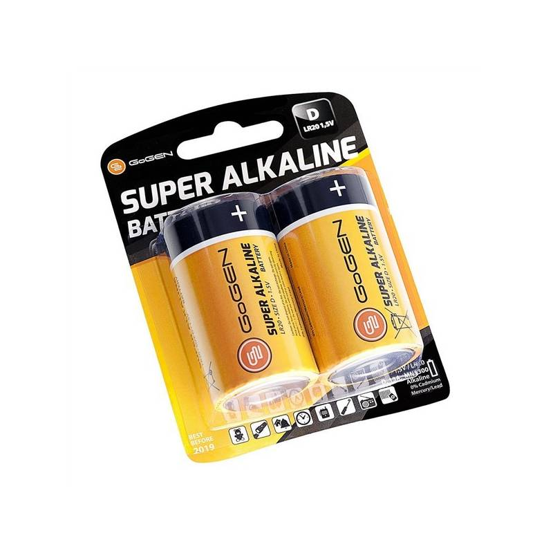 Batéria alkalická GoGEN SUPER ALKALINE D, LR20, blistr 2ks (GOGR20ALKALINE2) čierna/oranžová