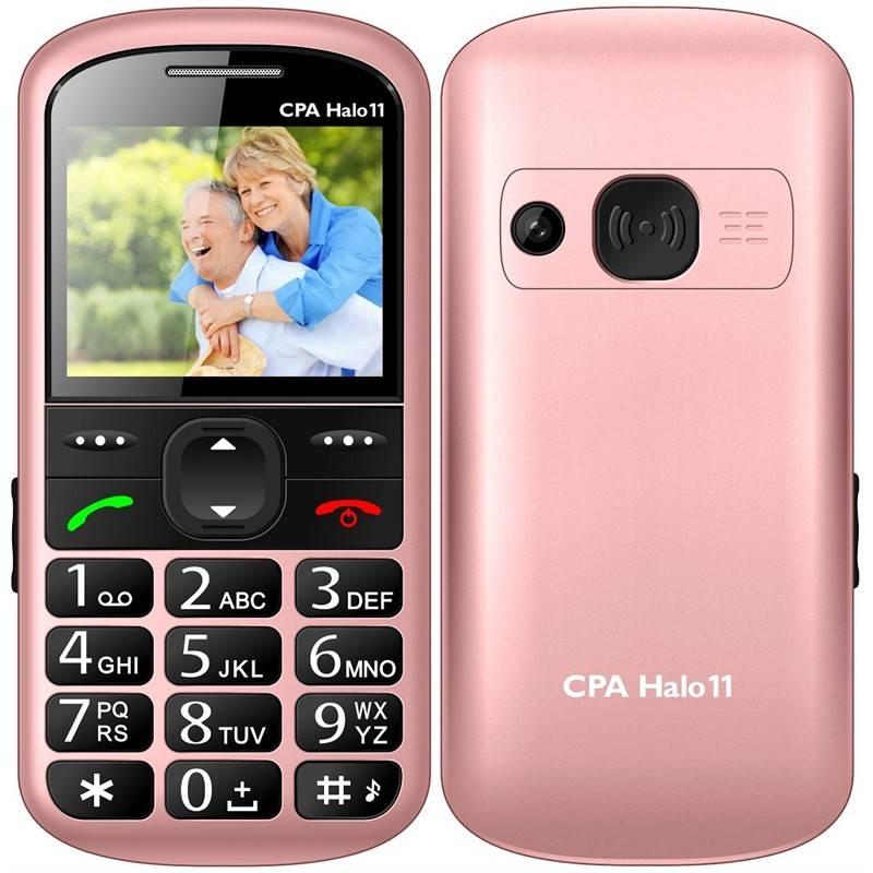 Mobilní telefon CPA Halo 11 Senior (TELMY1011PI) růžový