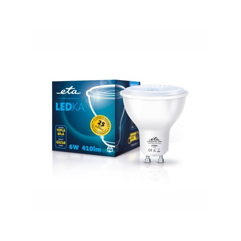 LED žiarovka ETA EKO LEDka bodová, 6W, GU10, teplá bílá (GU10-PR-410-16A)