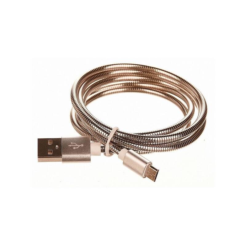 Kábel CellFish kovový, USB/micro USB, 1m (CELLKOVSILVER) strieborný