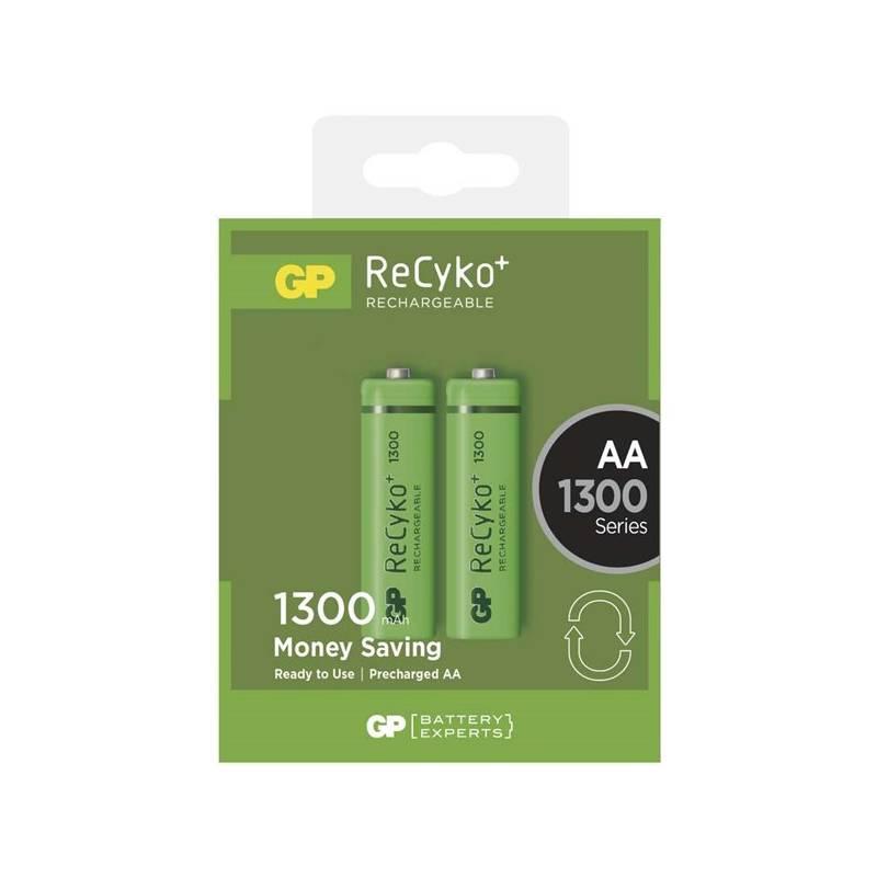 Batéria nabíjacie GP ReCyko+ AA, HR6, 1300mAh, Ni-MH, krabička 2ks (1032212010) zelená