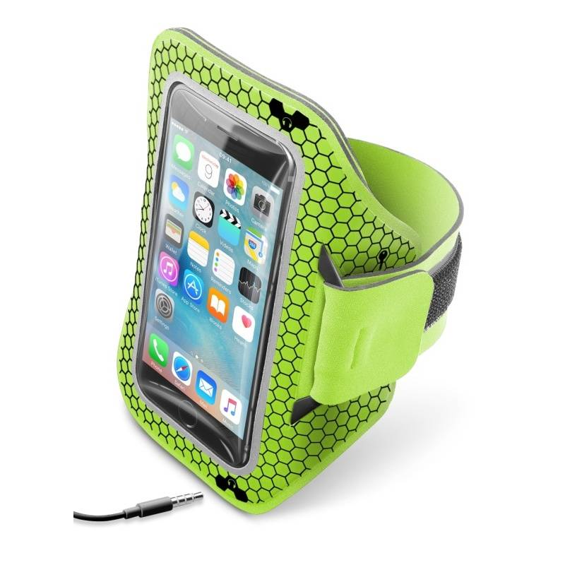 """Puzdro na mobil športové CellularLine Armband running, 5,2"""" (441071) žltá farba/zelená farba"""