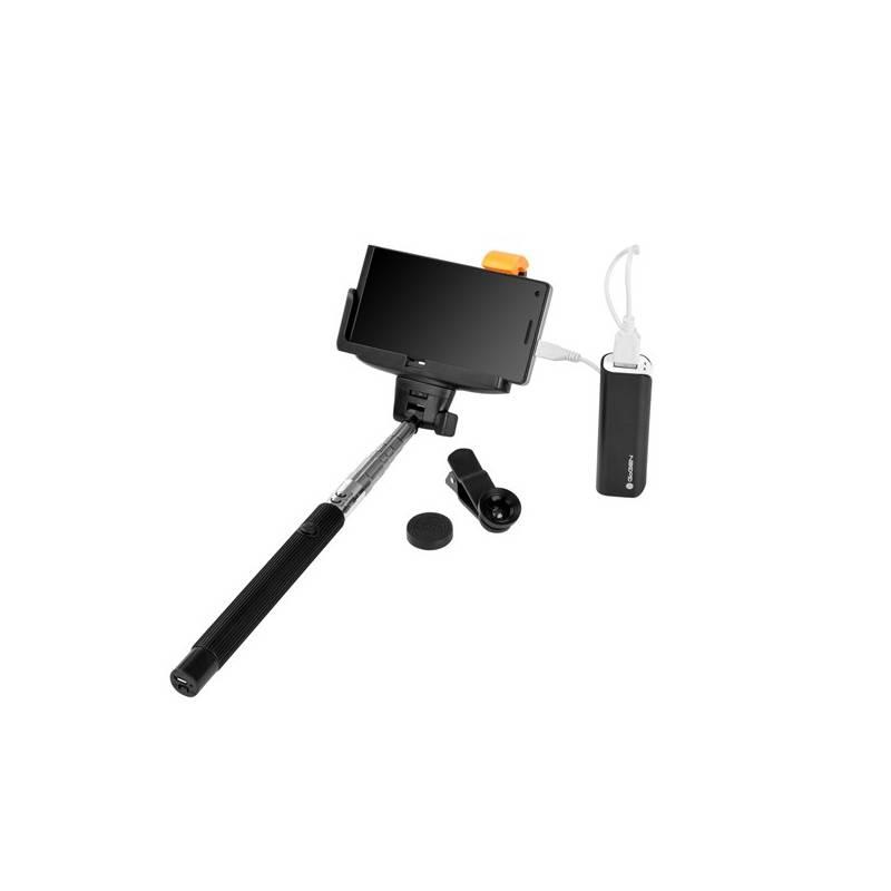 Selfie SET GoGEN 3in1, selfie tyč, power banka, mini objektív