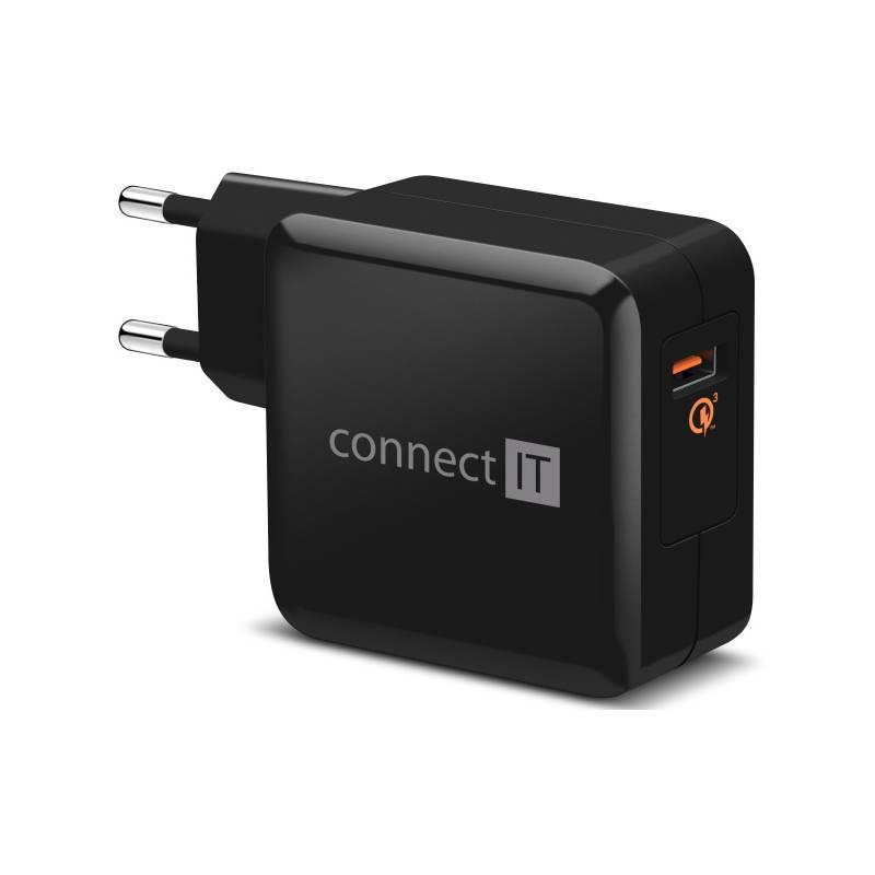 Nabíjačka do siete Connect IT InCarz, 1x USB (3A), s funkcí rychlonabíjení QC 3.0 (CWC-2010-BK) čierna