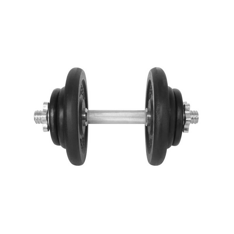 Hriadeľ jednoručný (30mm) LIFEFIT nakládací jednoruční 17 kg, 6x kotouč - lakované kotouče čierna/kov