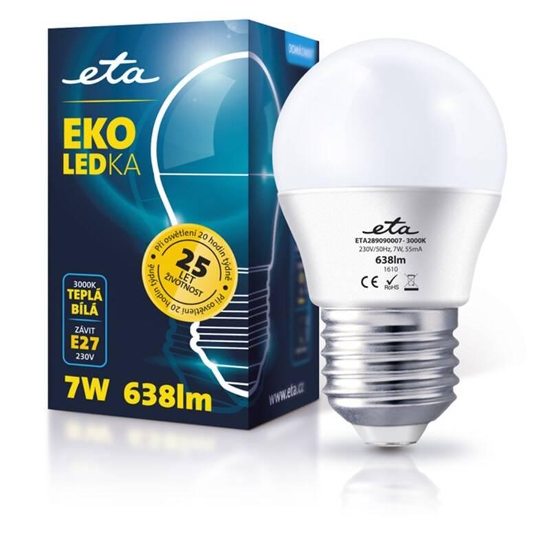 LED žiarovka ETA EKO LEDka mini globe, 7W, E27, teplá biela (G45-PR-470-16A)