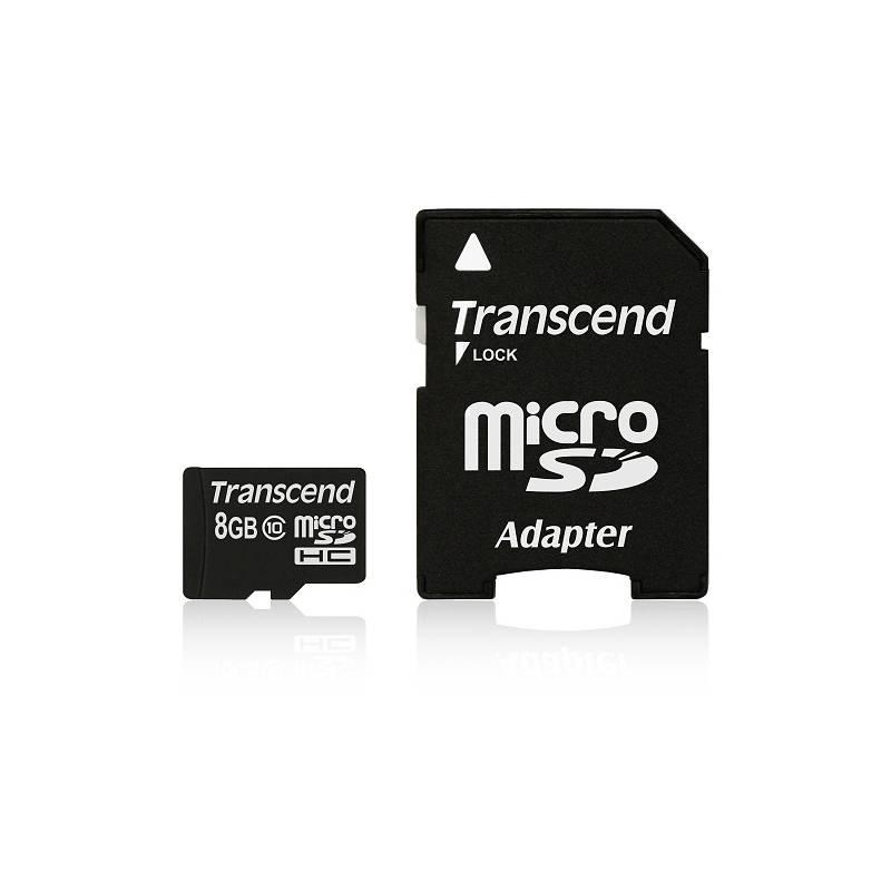 Pamäťová karta Transcend MicroSDHC 8GB Class10 + adapter (TS8GUSDHC10) + Extra zľava 10 % | kód 10HOR2020